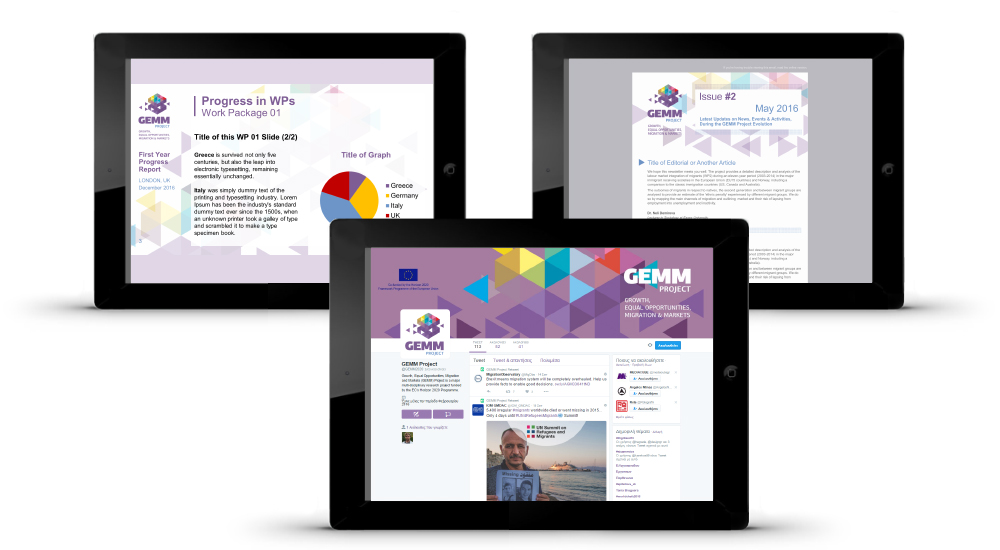 Presentation templates, Newsletter design, and graphics for the Social Media accounts