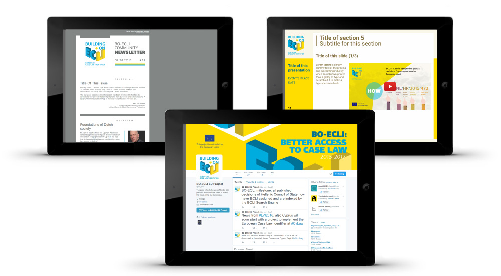 Newsletter design, ppt templates and graphics for social media accounts
